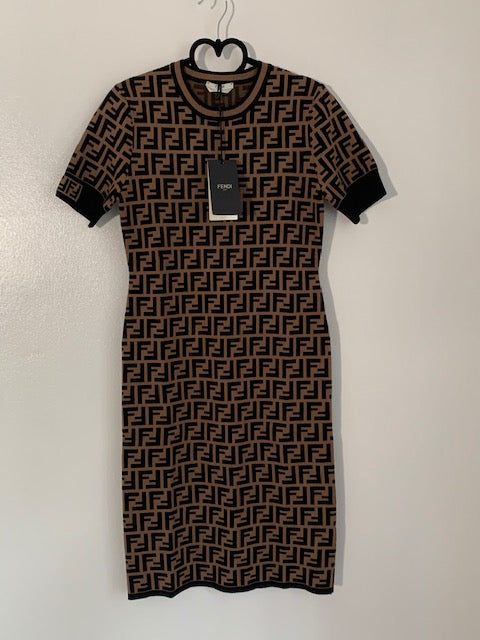 Brand New Fendi FF Motif Dress IT 38