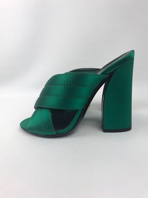 Gucci Webby Mules Emerald Satin 38
