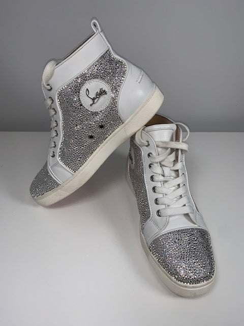 Christian Louboutin White Strass Hightop Sneakers 39.5