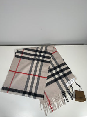 Brand New Burberry Giant Check Cashmere Scarf Stone