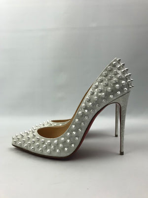 Brand New Christian Louboutin Follies Spikes Patent Coquillage 38