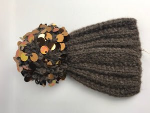 Brand New Grevi Bobble Sequin Alpaca Wool Hat Brown