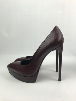 Brand New Saint Laurent Janis Burgundy Pumps 38