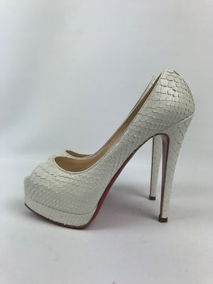 Brand New Rare Christian Louboutin White Python Palais Royal 36