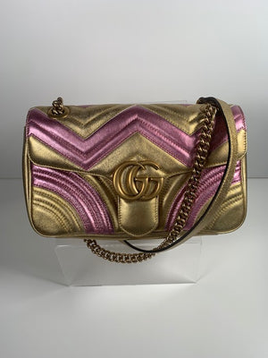 Brand New Gucci Marmont Small Shoulder Bag Metallic Pink & Gold