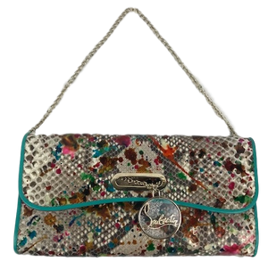 Brand New Christian Louboutin Riviera Clutch in Paint Splattered Python Skin