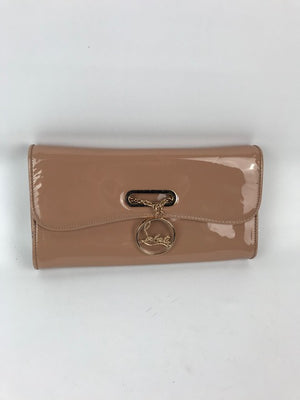 Brand New Christian Louboutin Nude Patent Riviera Clutch