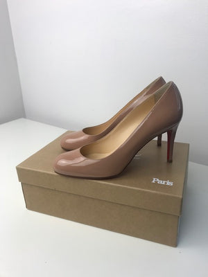 Brand New Christian Louboutin Simple Pump Nude Patent 37