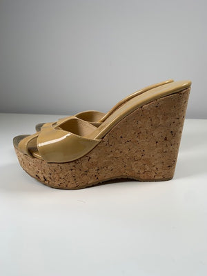 Jimmy Choo Nude Patent Wedges 38.5
