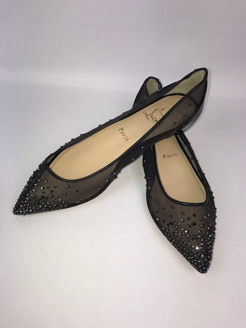 e9710271f8b Brand New Christian Louboutin Follies Strass Flats Black 39
