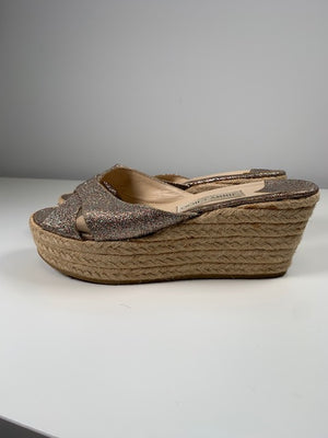 Jimmy Choo Glitter Wedges 39