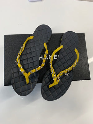 Chanel Chain Suede Flip Flops Yellow 38