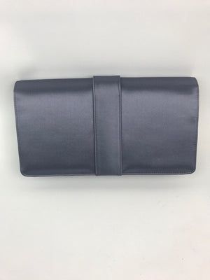 Brand New Manolo Blahnik Capri Clutch Grey Satin