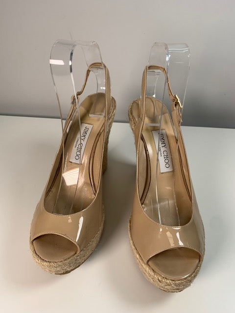 Jimmy Choo Nude Patent Wedges 39