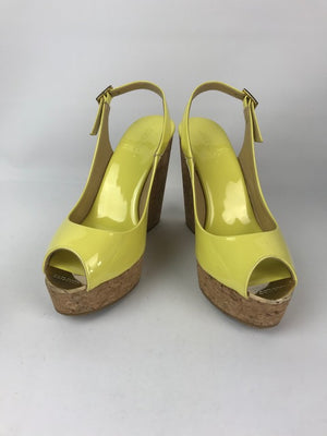 Brand New Jimmy Choo Patent Yellow Wedges 38