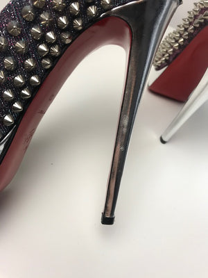Brand New Christian Louboutin Lady Peep Metallic Lame 37