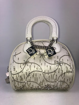 Limited Edition White Python Dior Gambler Handbag