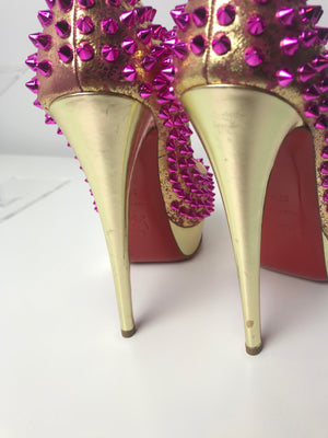 Brand New Christian Louboutin Lady Peep Spikes 37.5