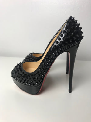 Christian Louboutin Lady Peep Black Patent Spikes 37.5