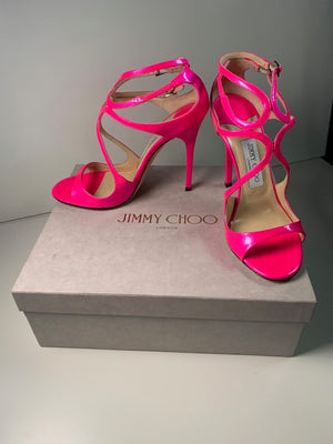 Brand New Jimmy Choo Lance Raspberry Patent 38