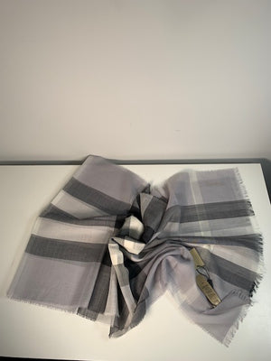 Brand New Burberry Wool Silk Gauze Scarf Pale Grey