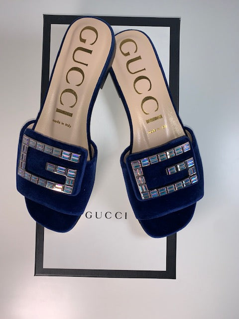 Brand New Gucci Softy Crystal Mules Cobalt 36.5