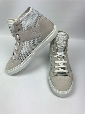 Brand New Chanel Beige Suede And Mesh Sneakers 39