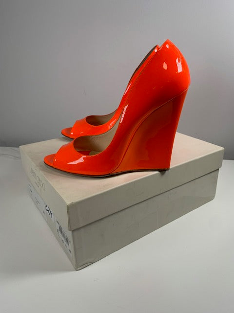 Brand New Jimmy Choo Biel Neon Orange 38.5