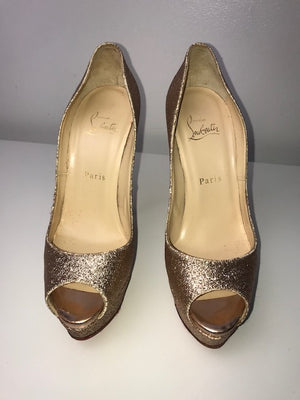 Christian Louboutin Lady Peep Rose Gold Glitter 37.5