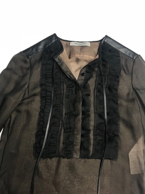Valentino Silk and Leather Blouse 6
