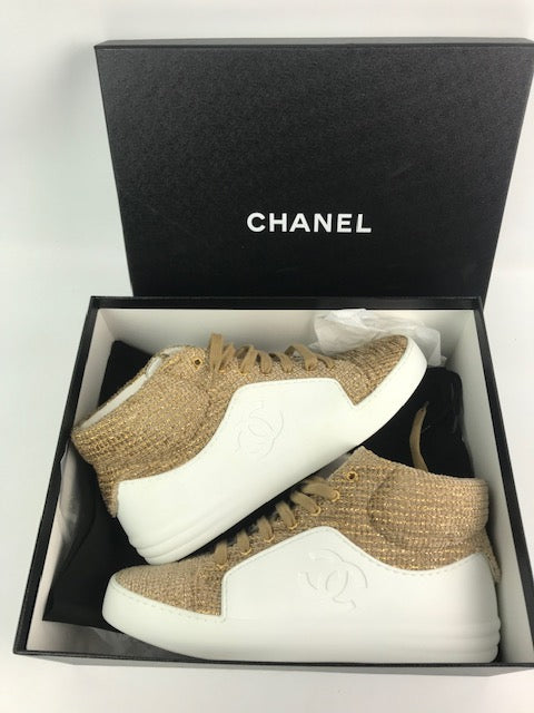 Brand New Chanel Gold Beige Tweed Mid-Top Sneakers