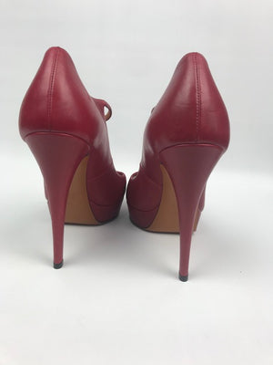 Brand New Gucci Red Betty Peeptoes 37.5