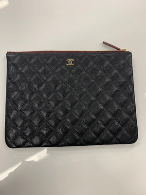 Chanel Medium Pouch Caviar Leather & Gold Hardware (SECONDS)