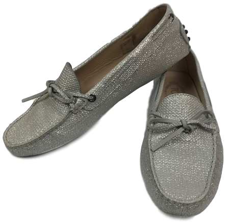 Tod's Loafers Silver Glitter 39