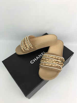 Brand New Chanel Chain And Pearl Sliders 34