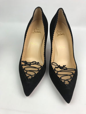 Brand New Christian Louboutin Scalopump Black Suede 41