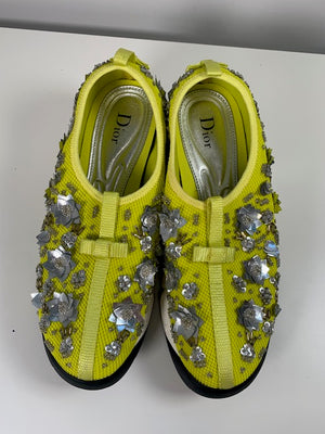 Brand New Dior Yellow Sequin Sneakers 38.5