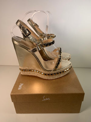 Brand New Christian Louboutin Cataclou Gold Wedges 41