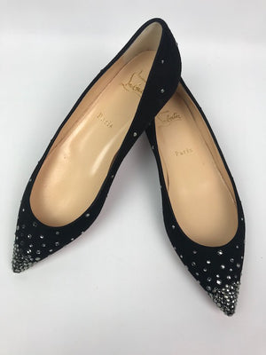Brand New Christian Louboutin Suede Strass Flats 38