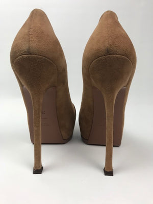 Brand New Yves Saint Laurent Double Platform Pump Tan Suede 39.5