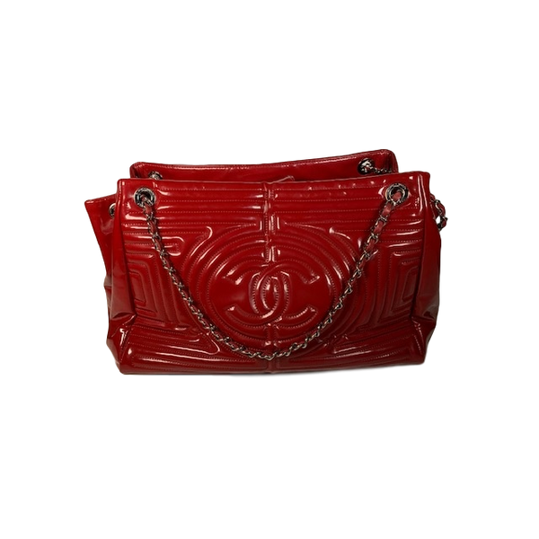 Chanel Ming Chain Tote Red Patent