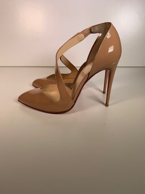 Brand New Christian Louboutin Nude Patent Pumps 35