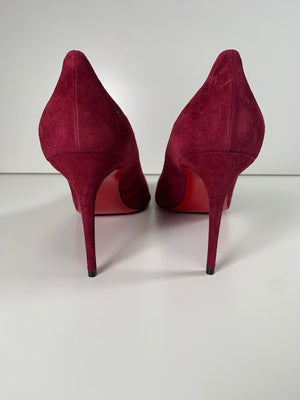 Brand New Christian Louboutin Kate Burgundy Suede 42
