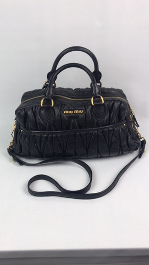 Miu Miu Matelasse Black Leather Handbag