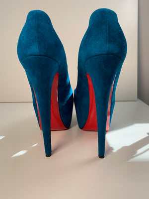 Brand New Christian Louboutin Daffodile Peacock Suede 40.5