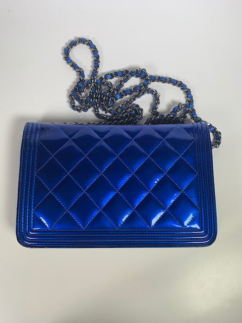 Chanel Boy Wallet On Chain Electric Blue Patent