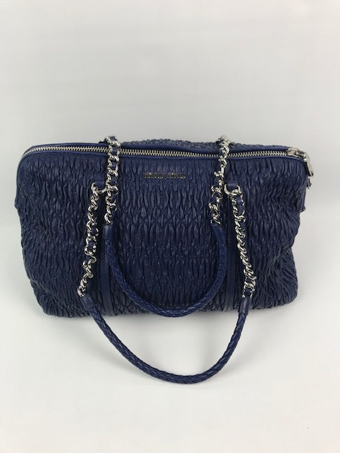 Brand New Miu Miu Electric Blue Matelasse Leather Handbag