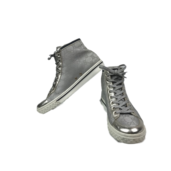 Gucci Silver Monogram Hightop Sneakers 37