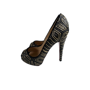 Brand New Christian Louboutin Woven Peep-Toes 36