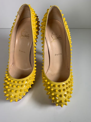 Christian Louboutin Bianca Yellow Patent Spike 38